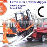 1.7ton mini hydraulic crawler excavator with Japan Kubota engine,hammer,quick hitch,cabin,rubber tracks,CE