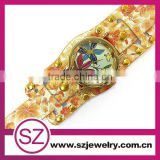 SWH0640 china leather bracelet guangzhou watch wholesale with flower and birds