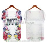 China manufacturer custom short sleeve white flower knit wholesale t shirt women                                                                         Quality Choice