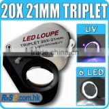 20x Magnification Triplet Lens with 6 Built-in LED UV Light 21mm Jeweler Loupe