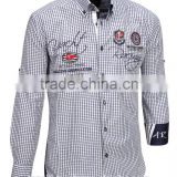 Awesome Wholesale plaid blue button down long sleeve pure cotton satin embroidered shirts for men