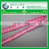 APR415 New arrival Embroidered on Pink Jacquard woven ribbon trim