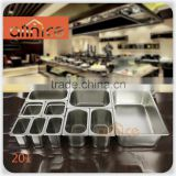 Stainless steel #201 Food Gn pan with 0.5/0.7/1.0mm thickness Stainless Steel Anti-Jam Steam Table Pan,Full size