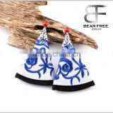 Embroidery fabric with blue and white porcelain pattern Drop Earrings