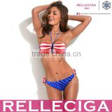 RELLECIGA Blue US National Flag Pattern Push-Up Hot Sexy Girl Photo Bikini