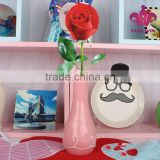Home decoration pink color ceramic flower vase handmade designs,ceramic cheap flower vase