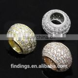 SJ3124 large hole 925 sterling silver micro pave beads, european style bead charm for bracelet