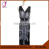 1461603 Long Design Deep V Neck Jersey Paisley Women Dress                                                                         Quality Choice