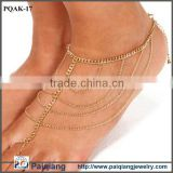 2015 Latest design beautiful chains slave toe ring gold anklet designs