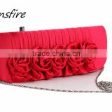 Wholesale ladies luxury backfin satin hinge bag evening clutch handbag rose wedding bag