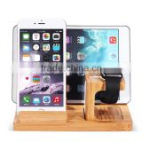 Wooden Charge Dock Holder for Apple Watch and Docking Station Cradle Bracket for iPod iPhone iPad and Smartphones and Tablets