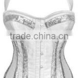 Waist Trainers Overbust Corsets With Silver Sequin Strips on Body and Bust and Underwired Cups