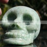 NATURAL GREEN Quartz Carved Stone Skull