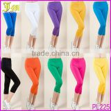 4XL Sexy Women's Candy Color Cropped Plain Stretchy Leggings Pants Tights Wholesale