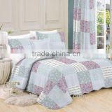 microfiber and cotton printed quilt coverlet bedspread set fake patchwork with flowers and stripes