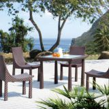 Garden Furniture Leisure Table And No Arm Chair PE Rattan Wicker Powder Coating Aluminum Frame Tempered Glass