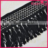 Hot selling long black tassel fringe trim for clothing WTPB-007