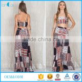 High Quality Printed Hippie African Print Skirts And Dress Kaftan Designs Two Piece Sets