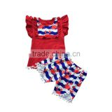 Popular style wholesale flutter sleeves tops with bib match pom pom shorts clothing sets