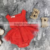 Solid Red Muslin Bodysuit Baby Girl Rompers Tutu Skirt Bulk Sale Baby Jumpsuit Design Pictures
