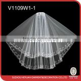V1109W1-1 Luxury sparkling sequins and bugle beads edged wedding bridal veil