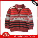 kids fashion red striped zipper collar long sleeve knitting pattern pullover sweater for boy