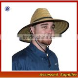 Australia fedora straw surf hat with band and adjustable lanyard lifeguards straw hat with lining to protect