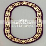 SCOTTISH RITE 33RD DEGREE GOLD FINISH METAL CHAIN COLLAR PURPLE-HSE