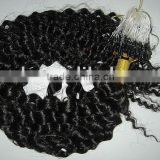 Curly Brazilian high quality remy micro ring loop hair extension