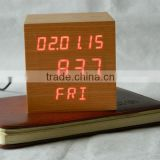 LED digital wood alarm clock with snooze function