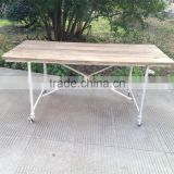 RE-1525 Cast Iron Table Leg Industrial Wood Metal Frame Dining Table