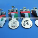 Onsale! UAE 45th National Day Stamped Flacon Sheikhs Medal Ribbon Pin Badge in Stock - MOQ 100pcs