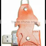 Bulk cheap fish shaped swivel real leather usb drive,OEM logo leather pendrive 1gb to 64gb, wholesale price usb stick