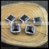 LFD-0063B Wholesale 18*19MM Druzy Black Stone Square Shape Pave Rhinestone Connectors Beads Jewelry Finding For Bracelet