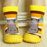 Organic cotton kids cute cartoon cow silicon rubber socks