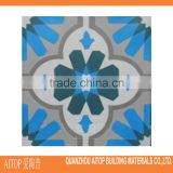 Blue flower texture cement flooring tile carpet 200x200mm fashionable cement floor tile concrete wholesale tile cement blue
