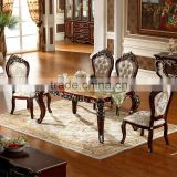 Luxury Classical Royal Baroque French Style Traditional Carved Wooden Antique Gold Silver Stroke Dark Brown Dining Room Set                                                                         Quality Choice