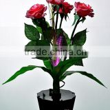 New Design 4 head Artificial Real Touch Wedding Decor LED PU Rose Flower lamp