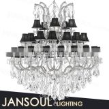 hotel/lobby/wedding decoration large luxury furniture crystal chandelier traditional pendant lights with black lampshape