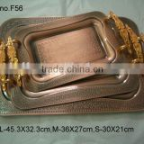 luxury red copper vintage stainless steel food tray plate/gold plated dinner set/food service tray