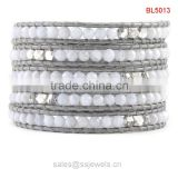 Graceful faceted agate beads leather wrap bracelets wholesale gemstone jewelry alibaba china