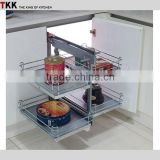 full extension chrome metal kitchen cabinet magic corner