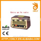 Portable wooden Retro AM/FM Radio with Full stereo Speaker