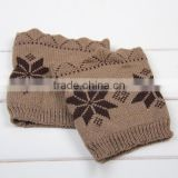 Snowflake Knitted Leg Warmers,Boho Boot Socks, Leg Warmers,Vintage Knitted Boot Cuffs, Image
