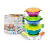 2016 Hot Sell Spill Proof Baby Plastic Bowl Set With Spoon