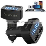 LED Universal 2-Port USB Car Charger Adapter Mini Bullet 5V 3.1A Voltage current temperature Monitor