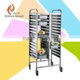 Movable multi-layers commercial industrial GN Pan stainless steel tray trolley in hotel restaurent