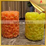 china factory christmas candle yellow color paraffin wax candle party decoraction supply pillar candle