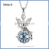 Wholesale White K And Antique Silver Plated Metal Angel Hollow Cage Chime Box Pendant Pregnancy Necklaces For Mother BAC-M043