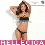 Black Storm - RELLECIGA Jungle Jewel 1/2 Cup Bandeau with Mild Push-up Molded Foam Padding Bikini Set Swimwear